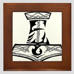 Black Celtic Thors Hammer Framed Tile