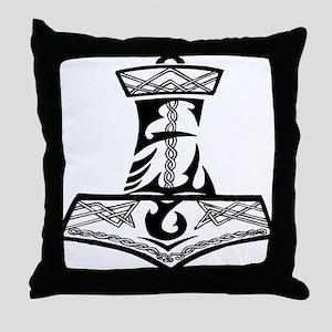 Black Celtic Thors Hammer Throw Pillow