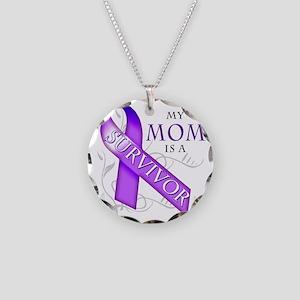 My Mom is a Survivor (purple Necklace Circle Charm