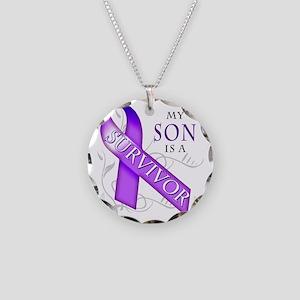 My Son is a Survivor (purple Necklace Circle Charm