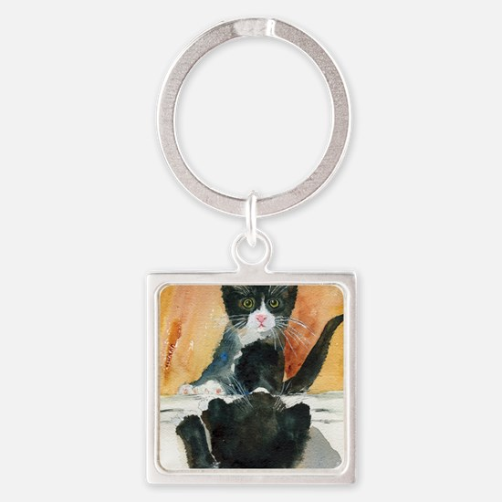 Kitten in the Mirror Square Keychain