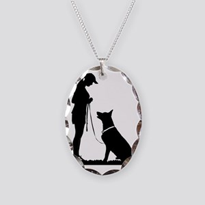 German Shepherd Obedience Necklace Oval Charm