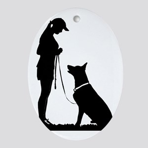 German Shepherd Obedience Oval Ornament
