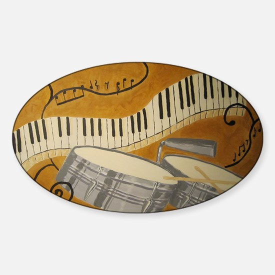 salsa painting with timbales and pi Sticker (Oval)