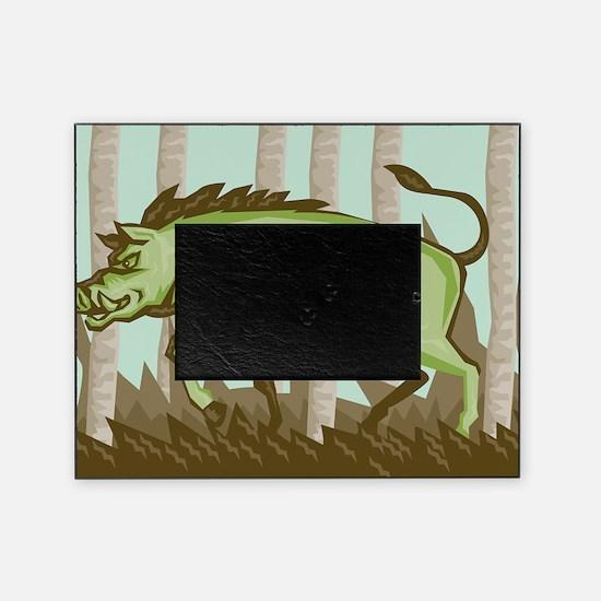 Razorback Wild Pig Boar Attacking Picture Frame