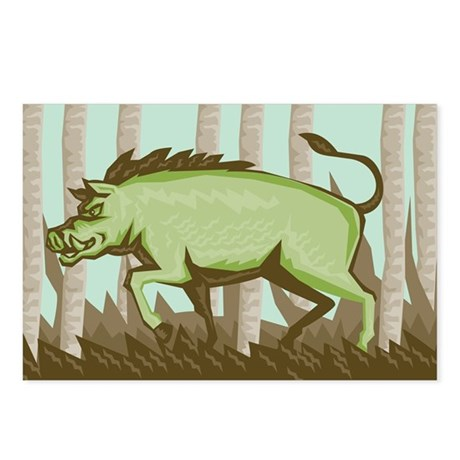 Razorback Wild Pig Boar A Postcards (Package of 8)