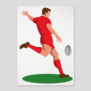 Rugby player kicking ball 5'x7'Area Rug