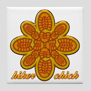 Hiker Chick orange copy Tile Coaster
