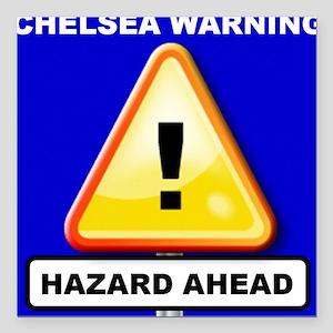 "Hazard Ahead Square Car Magnet 3"" x 3"""