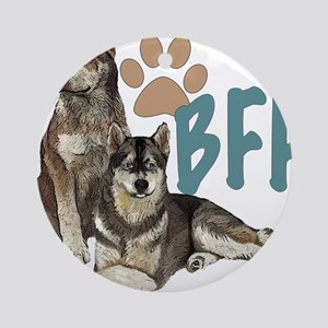 Siberian Husky BFF Round Ornament