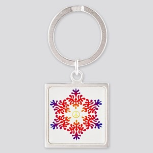 sunset snow peace Square Keychain