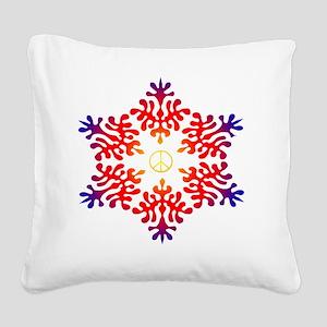 sunset snow peace Square Canvas Pillow
