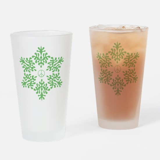 green dots snow peace Drinking Glass