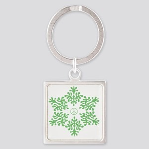 green dots snow peace Square Keychain