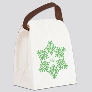 green dots snow peace Canvas Lunch Bag