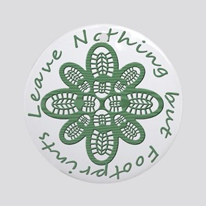 boot nothing but footprints grn Round Ornament