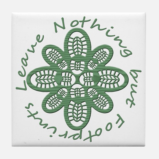 boot nothing but footprints grn Tile Coaster