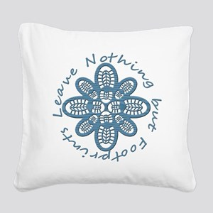 Nothing but Bootprints Blu Square Canvas Pillow