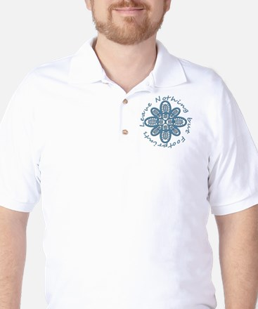 Nothing but Bootprints Blu Golf Shirt