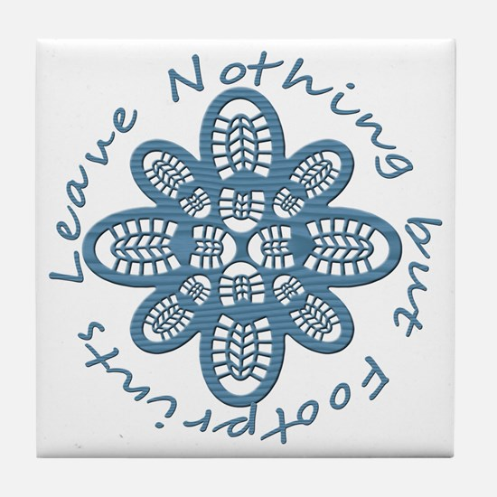 Nothing but Bootprints Blu Tile Coaster