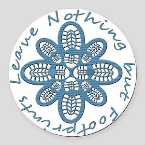 Nothing but Bootprints Blu Round Car Magnet