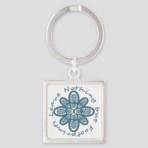 Nothing but Bootprints Blu Square Keychain