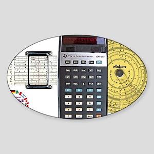 slide rule calculator composite wit Sticker (Oval)