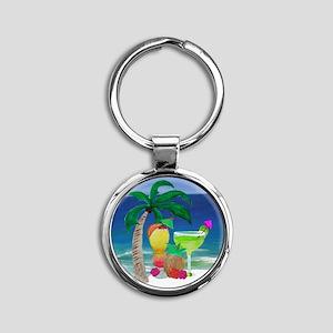 Tropical Drinks on the beach Round Keychain