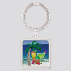 Tropical Drinks on the beach Square Keychain