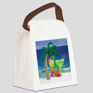Tropical Drinks on the beach Canvas Lunch Bag