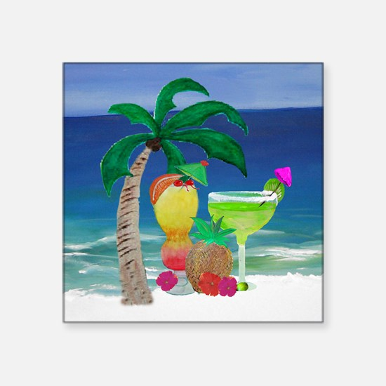 "Tropical Drinks on the beac Square Sticker 3"" x 3"""