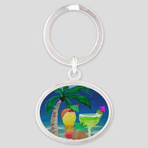 Tropical Drinks on the beach Oval Keychain