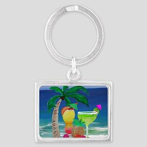 Tropical Drinks on the beach Landscape Keychain