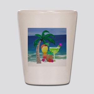 Tropical Drinks on the beach Shot Glass
