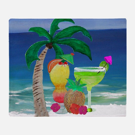Tropical Drinks on the beach Throw Blanket