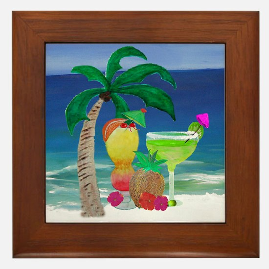 Tropical Drinks on the beach Framed Tile