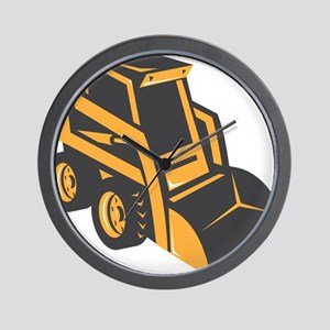 skid steer digger truck Wall Clock