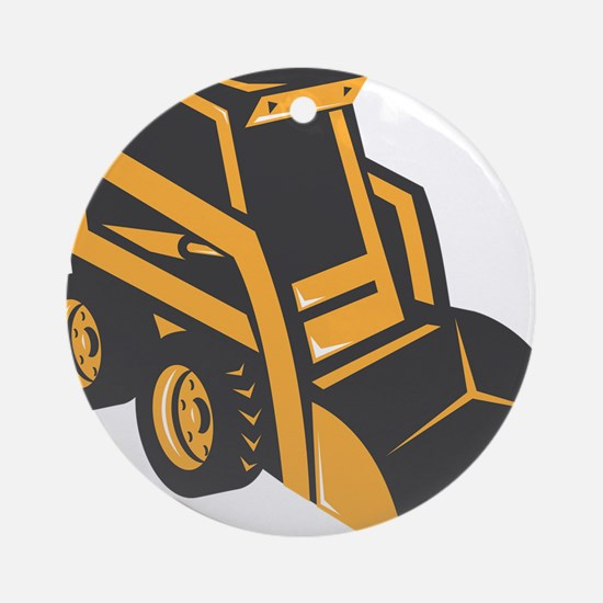 skid steer digger truck Round Ornament