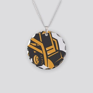 skid steer digger truck Necklace Circle Charm