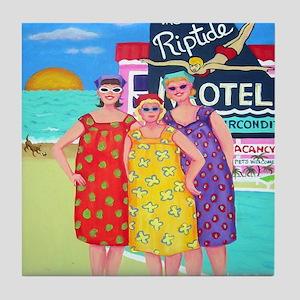 Etsy Cookie Babs Peach Tourist Season Tile Coaster