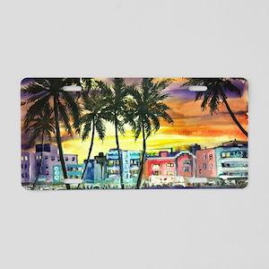 South Beach Neon Sunset Aluminum License Plate