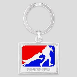 Schutzhund red white blue Landscape Keychain