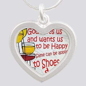 wine shoes and chocolate Silver Heart Necklace
