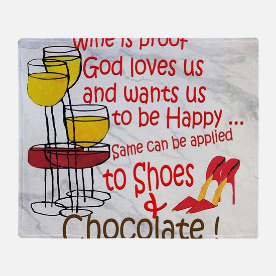 wine shoes and chocolate Throw Blanket