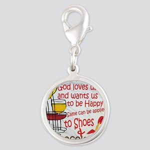 wine shoes and chocolate Silver Round Charm