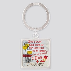 wine shoes and chocolate Square Keychain