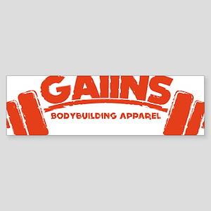 GAIINS Barbell Logo Red Sticker (Bumper)