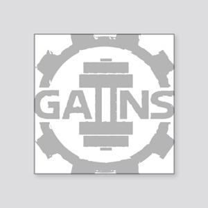 "GAIINS Cog Logo Grey Square Sticker 3"" x 3"""