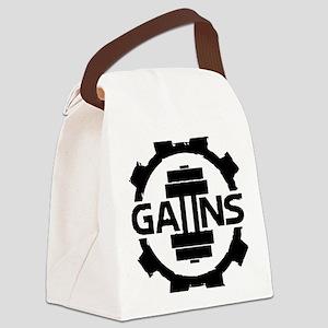 GAIINS Cog Logo Black Canvas Lunch Bag