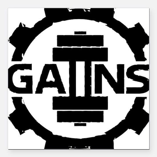 "GAIINS Cog Logo Black Square Car Magnet 3"" x 3"""